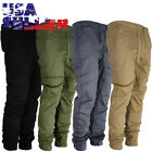 Mens Twill Jogger Pants Urban Hip Hop Casual Trousers Slim Elastic Drop Crotch