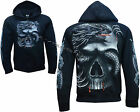 Grim Reaper Skull Dragon Glow In Dark Tattoo Goth Zip Zipped Hoodie Hoody Jacket
