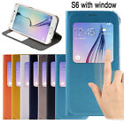 Slim Leather Flip Cover Stand View Hard Case for Samsung Galaxy S6 / S6 Edge #GS