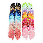 "3.5"" Handmade Girls Baby Hair Clips Polka Dots Ribbon Bows Alligator Grosgrain"