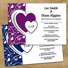 Purple Heart Personalised Day & Evening Wedding Invitations Invites + Envelopes