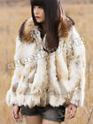 100% Real Rabbit Fur Jacket Coat Outwear Raccoon Fur Collar Warm Winter Fashion
