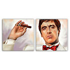 SCARFACE MONTANA with cigar print painting CANVAS ART PRINT (2 panel)