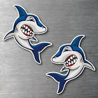 Angry Shark stickers twin pack water & fade proof 7 year vinyl boat fishing