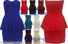 Womens Boobtube Bandeau Padded Gather Top Ladies Sexy Peplum Frill Bodycon Dress