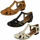 Ladies Clarks Henderson Luck Casual Leather T-Bar Closed Toe Sandal Shoes