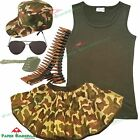 Ladies ARMY FANCY DRESS Military Vest Tutu Cap Bullet Belt costume outfit