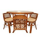 Borneo Handmade Rattan Wicker COMPACT Dinette Dining Set,Oval Table+2 Chairs