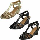 Ladies Van Dal Temple Black, Navy Or Gold T-bar Wedge Sandals D Fitting