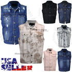 Men's Denim Vest Jean Jacket Waistcoat Sleeveless Vintage Punk Casual Jacket New