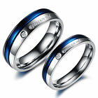 Fashion Women Men's 316L Stainless Steel Silver Blue Couple Wedding Ring Bands