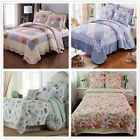 Checked&Floral Quilted Bedspreads Queen/King Size Patchwork Coverlet Set Cotton