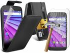 Motorola Moto G 3rd Gen G3 Leather Flip Wallet Case Cover Pouch + Tempered Glass