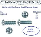 3/16x3/8 Whitworth Slotted Round Head Machine Screws, Bright Zinc Plated (BZP).