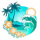 Tropical waves and beach decal Camper RV motor home mural graphic
