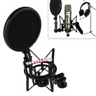 Black Plastic Microphone Shock Mount Stand Holder with Integrated Pop Filter EW
