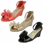 Girls Spot On H1074 Black, Coral Or Nude Patent Peep Toe Wedge Party Sandals