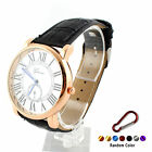 Women Men Roman Numerals Faux Leather Band Analog Quartz Wrist Watch +Keychain
