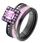 camo wedding band sets - Pink Camo Black 925 Sterling Silver & Titanium Engagement Wedding Ring Band Set