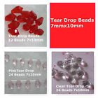 Glass Tear Drop Beads 7x10mm Jewelry Beads Clear Pink Red