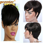 New Sexy Glueless Rihanna Short Chic Cut Remy Virgin Human Hair Wigs