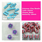 Polymer Clay Beads Tube Flower Butterfly Blue Red Purple Jewelry Craft Beads