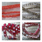 Marbled Foiled Glass Tube Beads 25x8mm Pink Champagne Cranberry Red Gold Silver