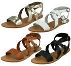 LADIES LEATHER COLLECTION X DESIGN BUCKLE ANKLE STRAP FALT MULES SANDALS F0924