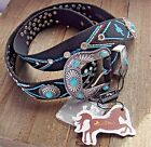MONTANA WEST Cowgirl Bling SouthWestern Aztec Black Belt Silver Concho Turquoise