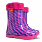 Baby Wellington Boots Kids Rainy Wellies In Check Pink FREE DELIVERY