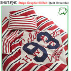 Stripe Graphic 93 Red Cotton Quilt Cover Set by Shuteye - SINGLE DOUBLE QUEEN