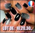 ❤ Manucure ❤ Lot Capsules Faux Ongles Noir Américain Nail Art Flashy Sexy ❤Pro