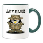 Personalised Gift Soldier Penguin Mug Money Box Cup Army Uniform Military Name