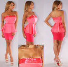 Womens New Sexy Coral Beaded Peplum Top Knit Strapless Bandage Dress Bodycon Hot