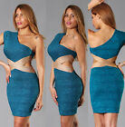 Womens New Teal Shimmer One Shoulder Side Cut Outs Bandage Dress Bodycon Hot New