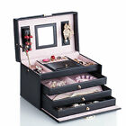 Leather Jewelry Box Cabinet Ring Necklace Watch Organizer Travel Case Gift wKey