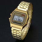 Men's Women's Vintage Stainless Steel LCD Digital Sports Stopwatch Wrist Watch