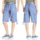 Akademiks Mens Cameron Twill Cargo Short Pants Army Summer Relax Casual Fit Belt