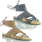 NEW WOMENS LADIES DESIGNER ANKLE STRAP LACE FLAT SUMMER BEACH SANDAL SHOES SIZE
