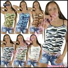 Sexy Women's Military Top Ladies Casual Army Vest Top Camo ONE SIZE 8,10,12 UK