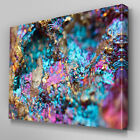 AB793 Geode rock gold stone blue Canvas Wall Art Abstract Picture Large Print