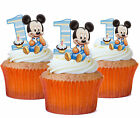 24 x MICKEY MOUSE 1ST BIRTHDAY STAND UP TOPPERS  Edible Wafer Cupcake Toppers...
