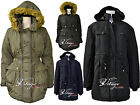Womens Quilted Military Parka Furs Trim Hood Ladies Plus Size Jackets Coats