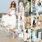 Women Boho Beach Summer Chiffon Sundress Long Maxi Evening Party Dress