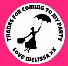 48 Personalised Round Mary Poppins Birthday Party Stickers Sweet Cone Bags 40mm