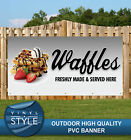WAFFLES SERVED FRESH HERE DELICIOUS SWEET PVC BANNER PROMOTIONAL VARIOUS SIZES