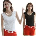 Summer Women Blouse Lace Vintage Sleeveless White Black Crochet Shirts Tops
