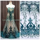 Green/blue/wine/blac sequins on netting embroidered clothing/ dresss lace fabric