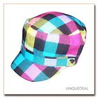 NEW  *D&Y* STYLISH BUFFALO MILITARY PLAID CADET HAT W/BUTTON - MULTI COLOR