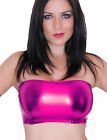 PINK Boob Tube Top METALLIC Wet Look Lycra NEW Bandeau Party Clubwear Shiny B50